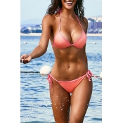 Lovely Lace-up Pink Two-piece Swimsuit