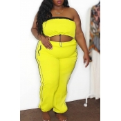 Lovely Casual Crop Top Yellow Plus Size Two-piece