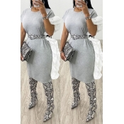 Lovely Sweet Basic Grey Knee Length Dress