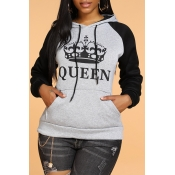 Lovely Casual Letter Grey Hoodie