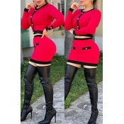 Lovely Chic Patchwork Red Two-piece Skirt Set