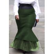 Lovely Sweet Flounce Green Plus Size Skirt