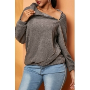 Lovely Casual Turtleneck Grey Sweatshirt Hoodie