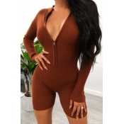 Lovely Chic Skinny Brown One-piece Romper