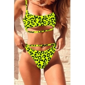 Lovely Print Green Two-piece Swimsuit