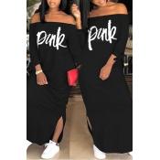 Lovely Casual Letter Black Ankle Length Dress