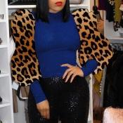 Lovely Chic O Neck Leopard Blue Blouse