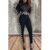 Lovely Chic Plaid Black And White Two-piece Pants