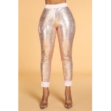Lovely Chic Sequin Patchwork Rose Gold Pants