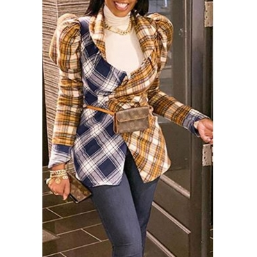 Lovely Casual Plaid Patchwork Yellow Blazer