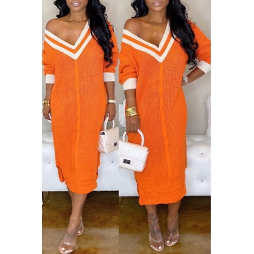Lovely Casual V Neck Patchwork Croci Mid Calf Dress
