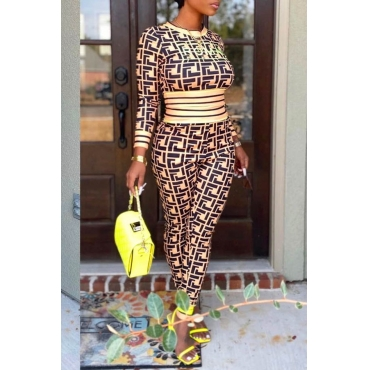 Lovely Leisure Patchwork Croci Two-piece Pants Set