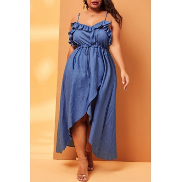 Lovely Casual Spaghetti Straps Baby Blue Mid Calf Plus Size Dress