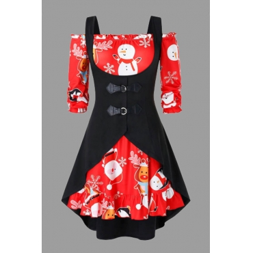 Lovely Christmas Day Print Red Plus Size Two-piece Skirt Set