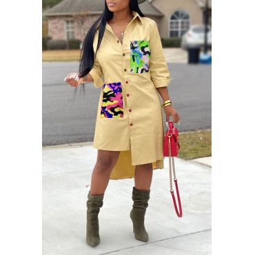 Lovely Casual Print Buttons Camo Mid Calf Dress