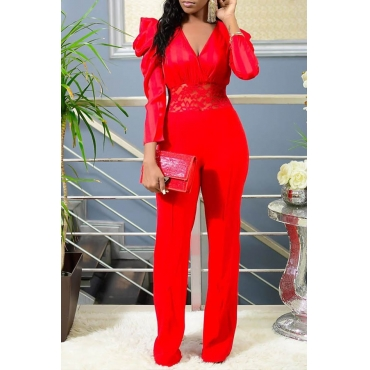 Lovely Casual Patchwork Red One-piece Jumpsuit