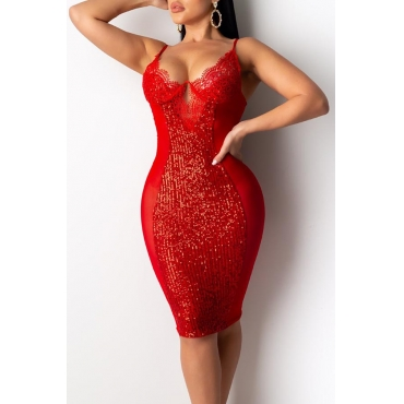 Lovely Party See-through Red Knee Length Dress