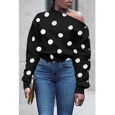 Lovely Chic Dot Printed Black Hoodie