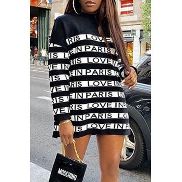 Lovely Casual Letter Black And White Mini Dress
