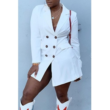 Lovely Casual Turndown Collar Buttons White Mini Dress