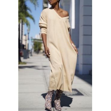 Lovely Casual V Neck Apricot Ankle Length Dress