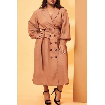 Lovely Casual Turn-back Collar Buttons Light Tan Plus Size Coat