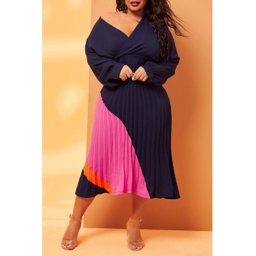 Lovely Casual Patchwork Dark Blue Mid Calf Plus Size Dress