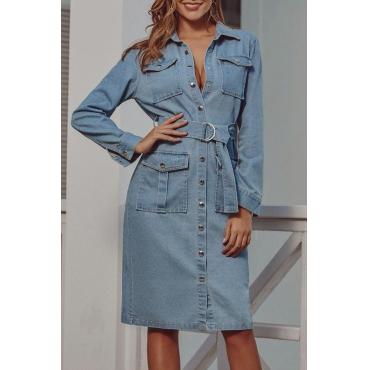 Lovely Casual Turndown Collar Buttons Design Blue Knee Length Dress