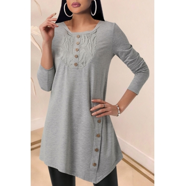 Lovely Casual Buttons Design Grey T-shirt