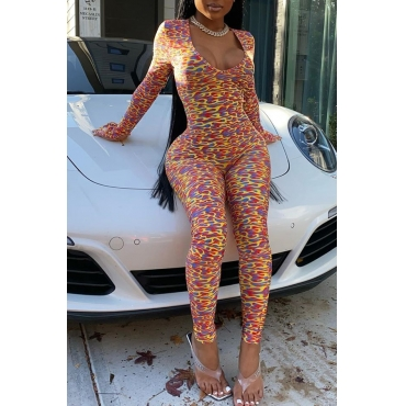 Lovely Sexy Skinny Print Multicolor One-piece Jumpsuit