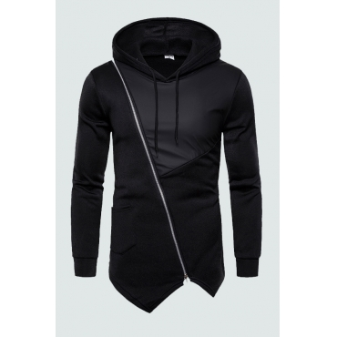 Lovely Casual Patchwork Zipper Design Black Hoodie