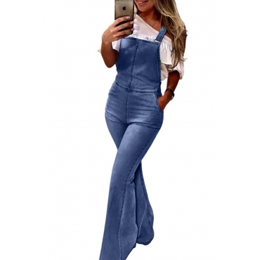 Lovely Casual Backless Blue One-piece Jumpsuit