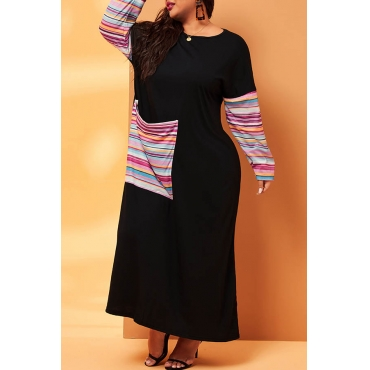 Lovely Casual Striped  Patchwork Black Ankle Length Plus Size Dress