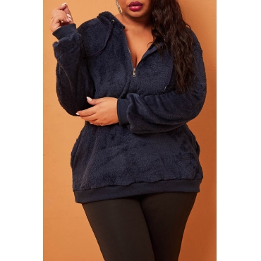 Lovely Casual Zipper Design Dark Blue Plus Size Hoodie