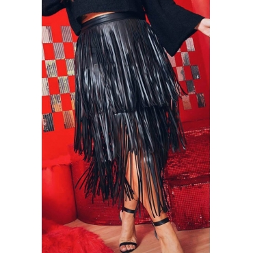 Lovely Chic Tassel Design Black Skirt