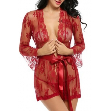 Lovely Chic See-through Red Babydolls