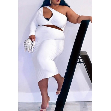 Lovely Casual Hollow-out White Plus Size Two-piece Skirt Set