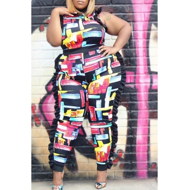 Lovely Trendy Flounce Design Black Plus Size One-piece Jumpsuit