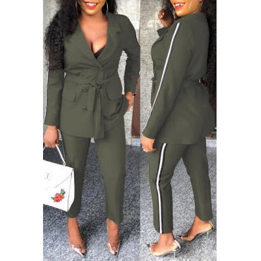 Lovely Work Turn-back Collar Buttons Army Green Two-piece Pants Set
