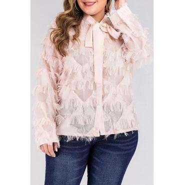 Lovely Sweet Tassel Design Pink Plus Size Blouse