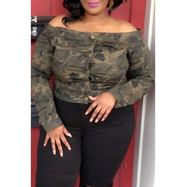 Lovely Casual Print Camo Army Green Plus Size Blouse