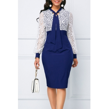 Lovely Chic Patchwork Blue Knee Length Dress