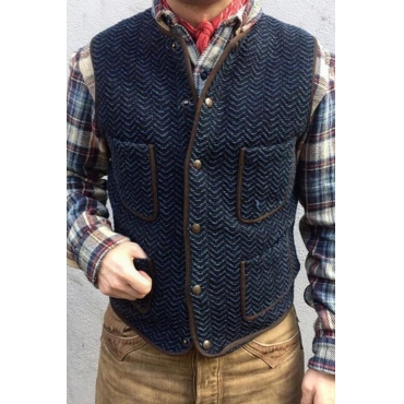 Lovely Casual Basic Buttons Blue Vest