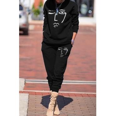 Lovely Trendy Print Black Two-piece Pants Set