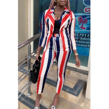 Lovely Work Striped Multicolor Two-piece Pants Set