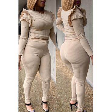Lovely Trendy V Neck Flounce Apricot Two-piece Pants Set