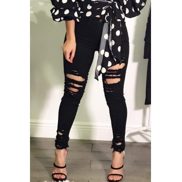 Lovely Casual Hollow-out Black Jeans