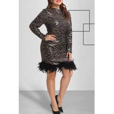 Lovely Casual Patchwork Black Plus Size Mini Dress