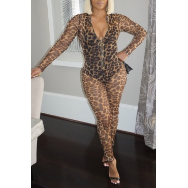 Lovely Chic Leopard Print One-piece Jumpsuit