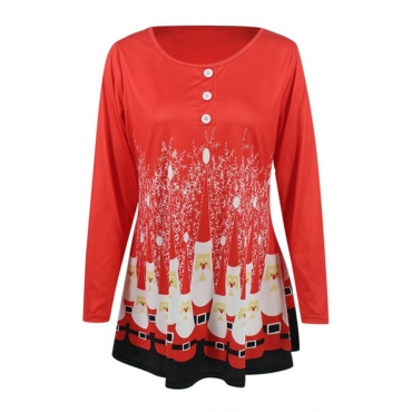 Lovely Casual Print Red T-shirt